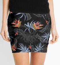 Tropical Bird of Paradise on Black Mini Skirt