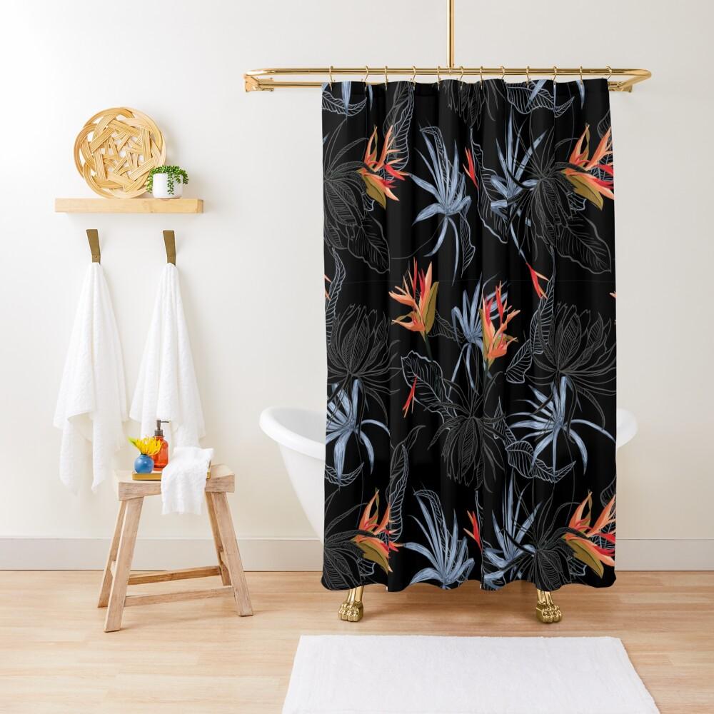 Tropical Bird of Paradise on Black Shower Curtain