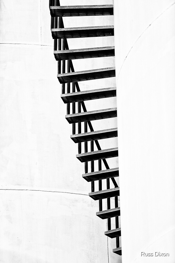 Staircase abstract in monochrome by Russ Dixon