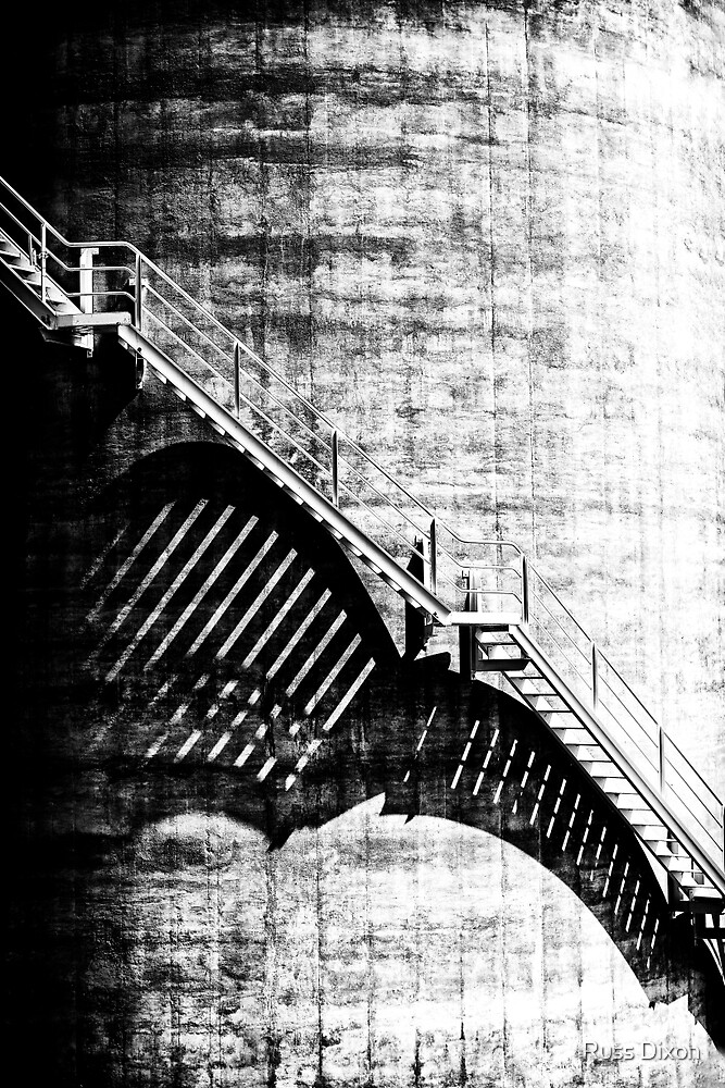 Industrial staircase creates abstract shadows and lines by Russ Dixon