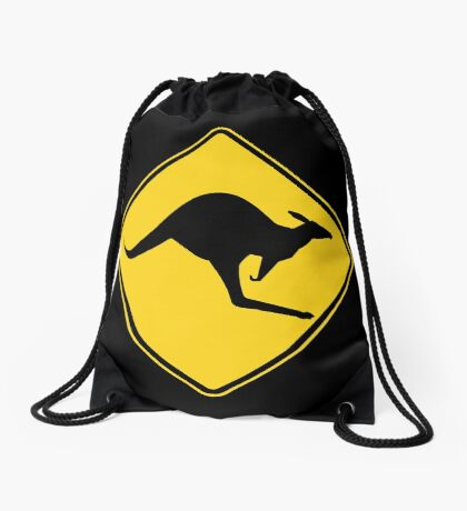 Kangaroo Warning Sign Drawstring Bag