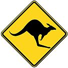 Kangaroo Warning Sign by Rupert Russell