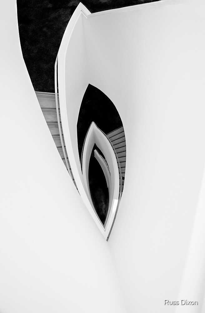 Modern architectural abstract in monochrome by Russ Dixon