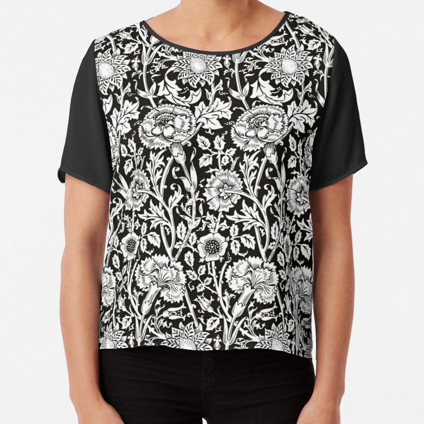 William Morris Carnations   Black and White Floral Pattern   Flower Patterns   Vintage Patterns   Classic Patterns   Chiffon Top