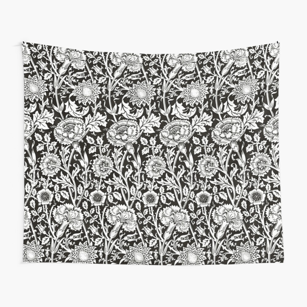 William Morris Carnations | Black and White Floral Pattern | Flower Patterns | Vintage Patterns | Classic Patterns | Wall Tapestry