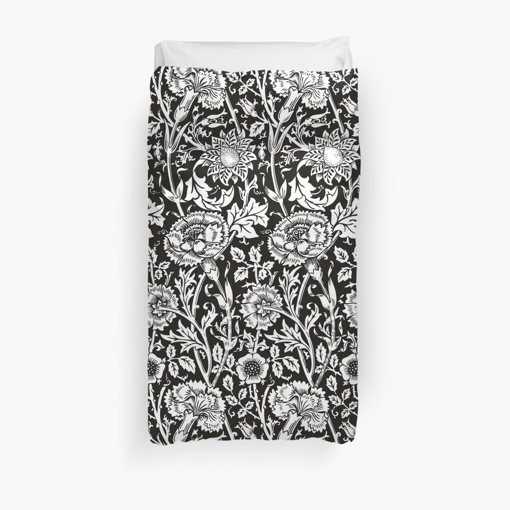 William Morris Carnations | Black and White Floral Pattern | Flower Patterns | Vintage Patterns | Classic Patterns | Duvet Cover