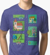 A Quiet Afternoon in Town Tri-blend T-Shirt