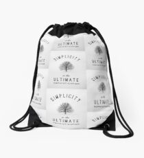 Simplicity is the ultimate sophistication Drawstring Bag