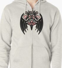 Raven Crow in a Pacific North West Style, Native American Style Zipped Hoodie