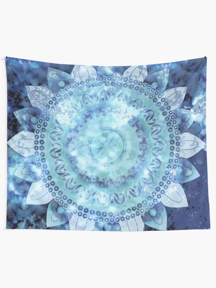 Alternate view of Blue Minted Fizz Mandala Tapestry