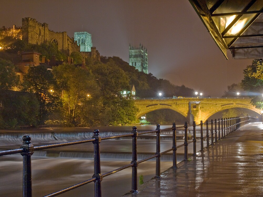Durham Cathedral and Castle from the RIverside at night by Phil-Edwards
