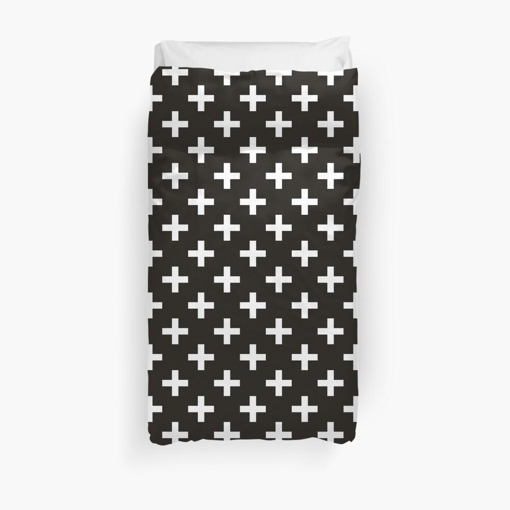 Crosses | Criss Cross | Swiss Cross | Hygge | Scandi | Plus Sign | Black and White |  Duvet Cover