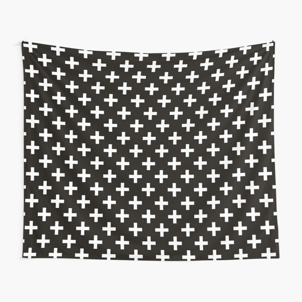 Crosses | Criss Cross | Swiss Cross | Hygge | Scandi | Plus Sign | Black and White |  Wall Tapestry