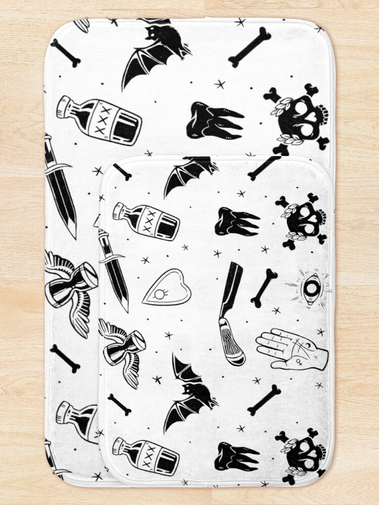 Alternate view of A Few of My Macabre Things (on white) Bath Mat