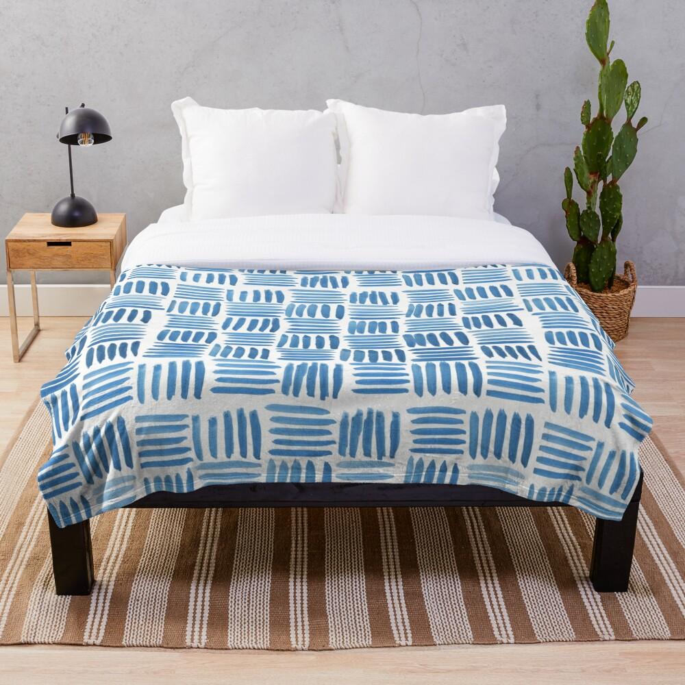 Blue Parquet Throw Blanket