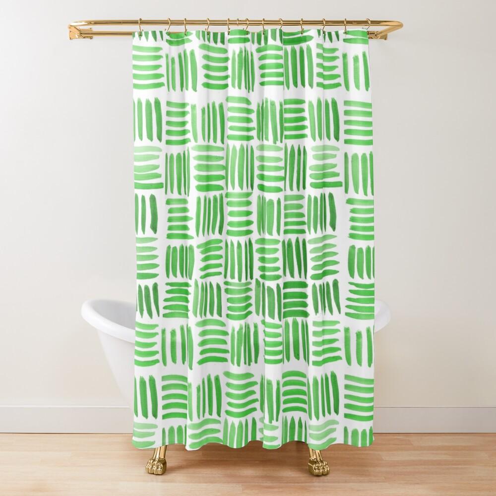 Green Parquet Shower Curtain