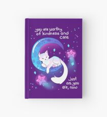 """You Are Worthy of Kindness and Care"" Space Kitty Hardcover Journal"