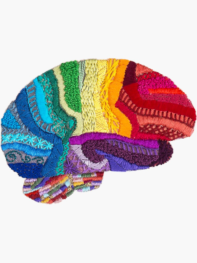 Sampler Brain - Embroidered Look - Rainbow Brain  by Laurabund