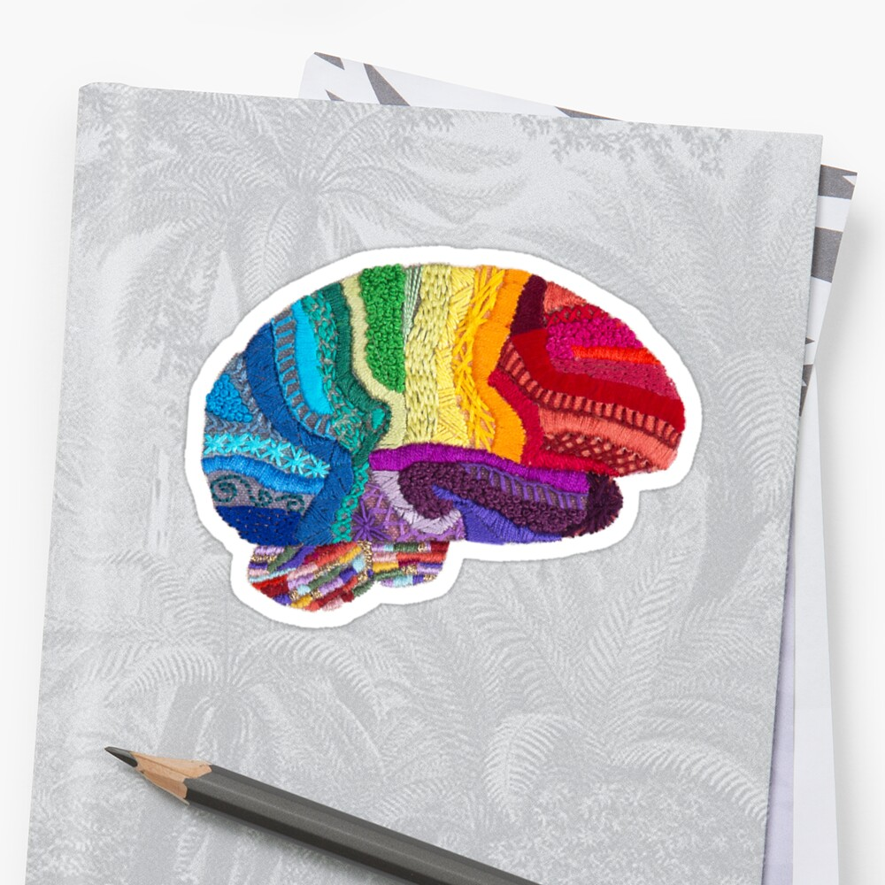 Sampler Brain - Embroidered Look - Rainbow Brain  Stickers