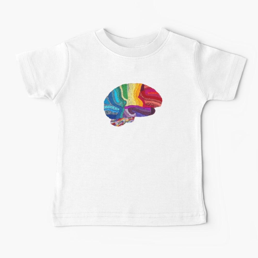 Sampler Brain - Embroidered Look - Rainbow Brain  Baby T-Shirt