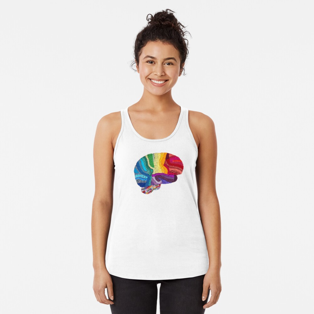 Sampler Brain - Embroidered Look - Rainbow Brain  Racerback Tank Top