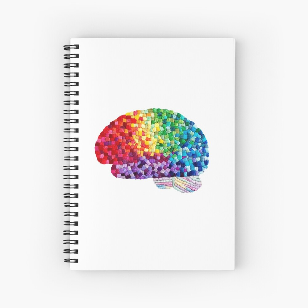 Square the Circle - Embroidered Look - Rainbow Brain by Laurabund Spiral Notebook