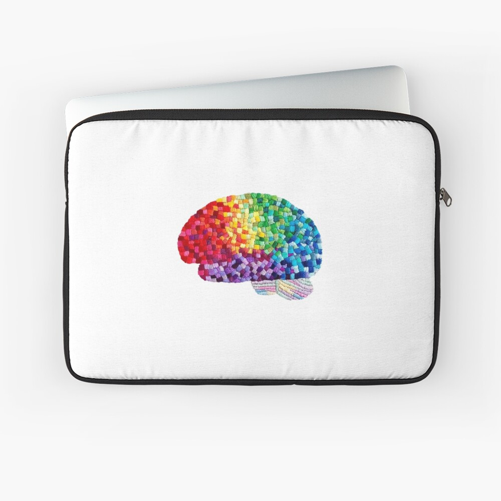 Square the Circle - Embroidered Look - Rainbow Brain by Laurabund Laptop Sleeve