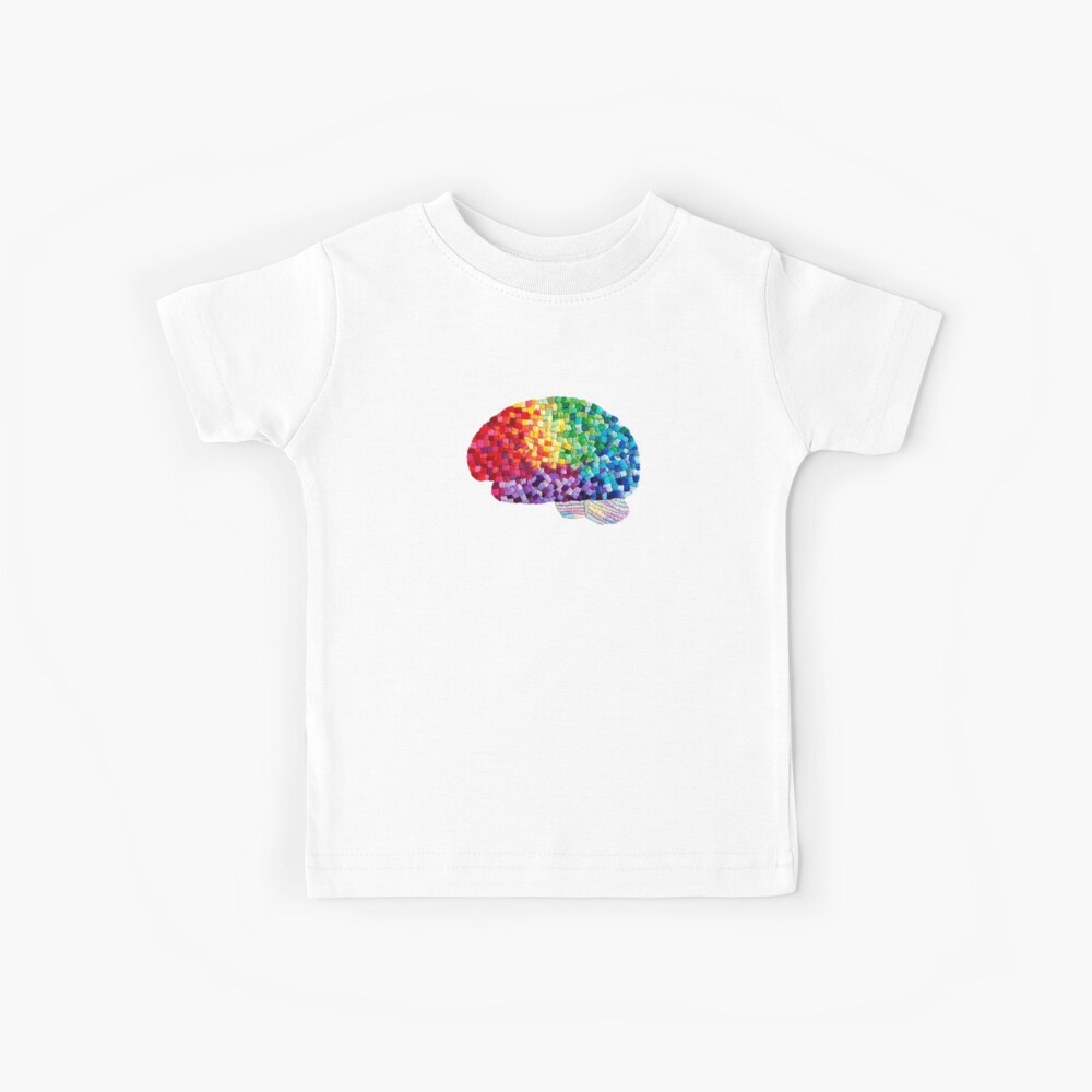 Square the Circle - Embroidered Look - Rainbow Brain by Laurabund Kids T-Shirt