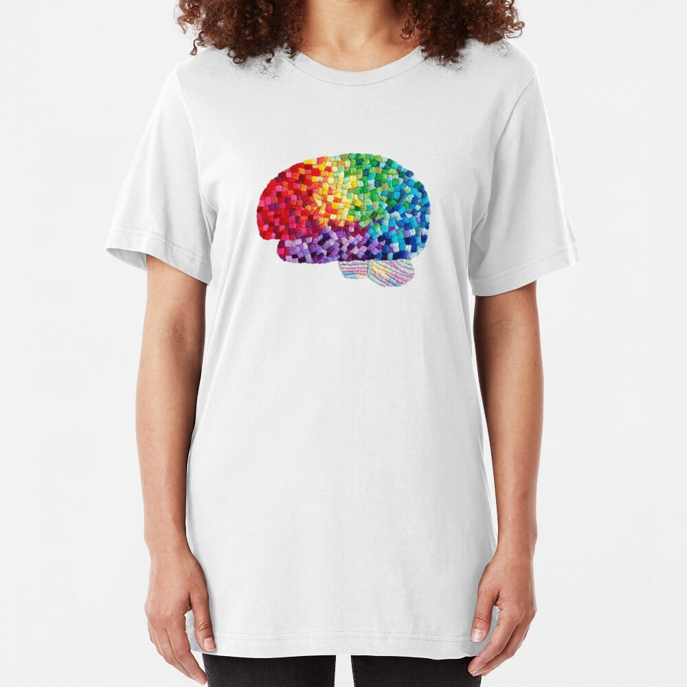 Square the Circle - Embroidered Look - Rainbow Brain by Laurabund Slim Fit T-Shirt