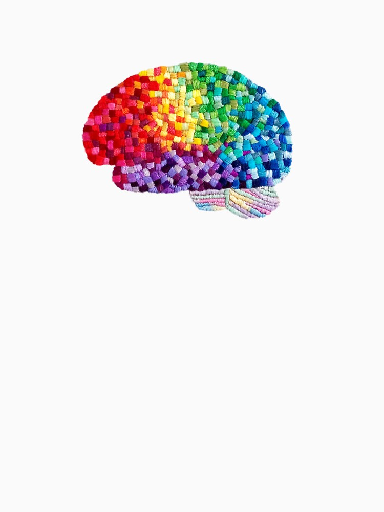 Square the Circle - Embroidered Look - Rainbow Brain by Laurabund by Laurabund