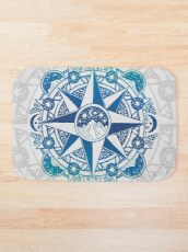 Journey to Moon Mountain | Turquoise Navy Ombré Bath Mat