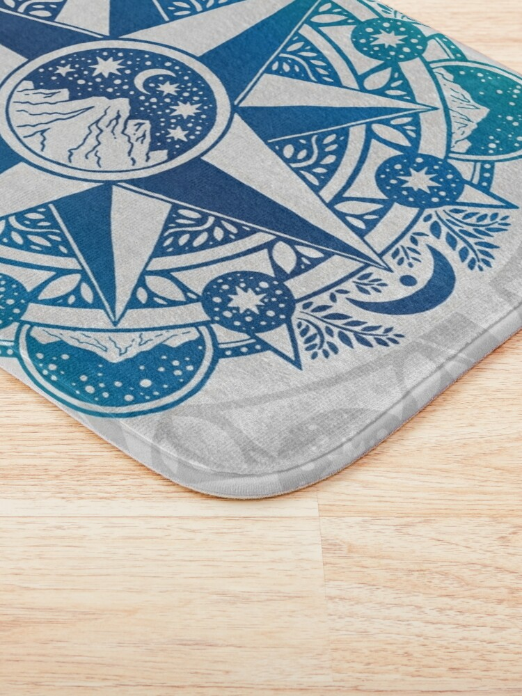 Alternate view of Journey to Moon Mountain | Turquoise Navy Ombré Bath Mat