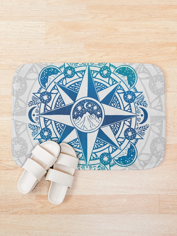 Alternate view of Journey to Moon Mountain   Turquoise Navy Ombré Bath Mat