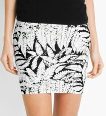 Tropical print in black and white with fern leaves Mini Skirt