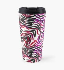 Pink floral tropical print with palm leaves Travel Mug