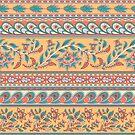 Dekoratives nahtloses Muster von Grenzen. Indischer Stil. Kalamkari. von Skaska
