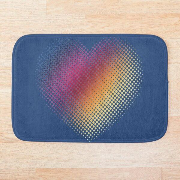 Linear Gradient on Halftone Heart (Galaxy Blue) Bath Mat