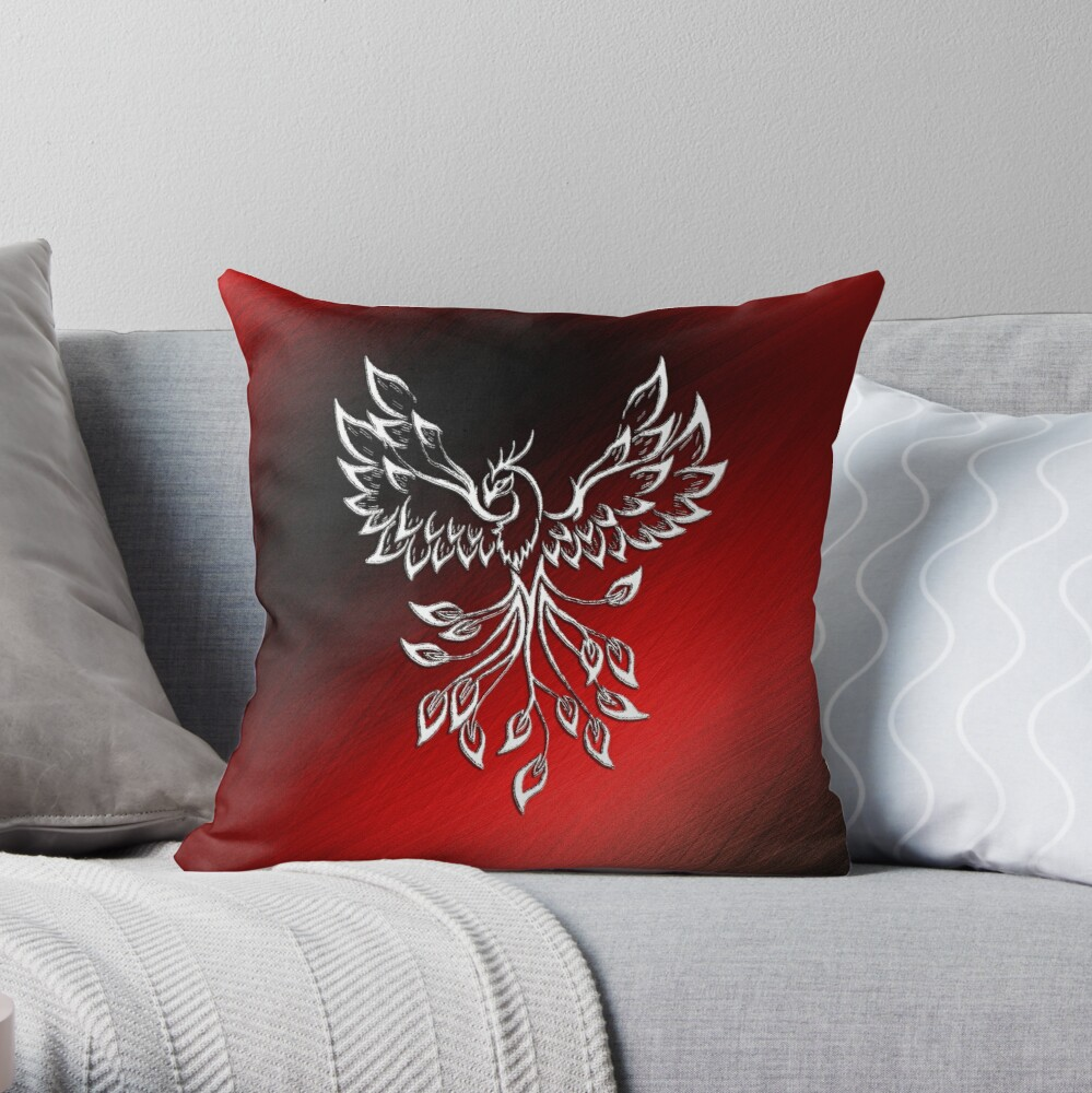 White Phoenix Rises from the Ashes Throw Pillow
