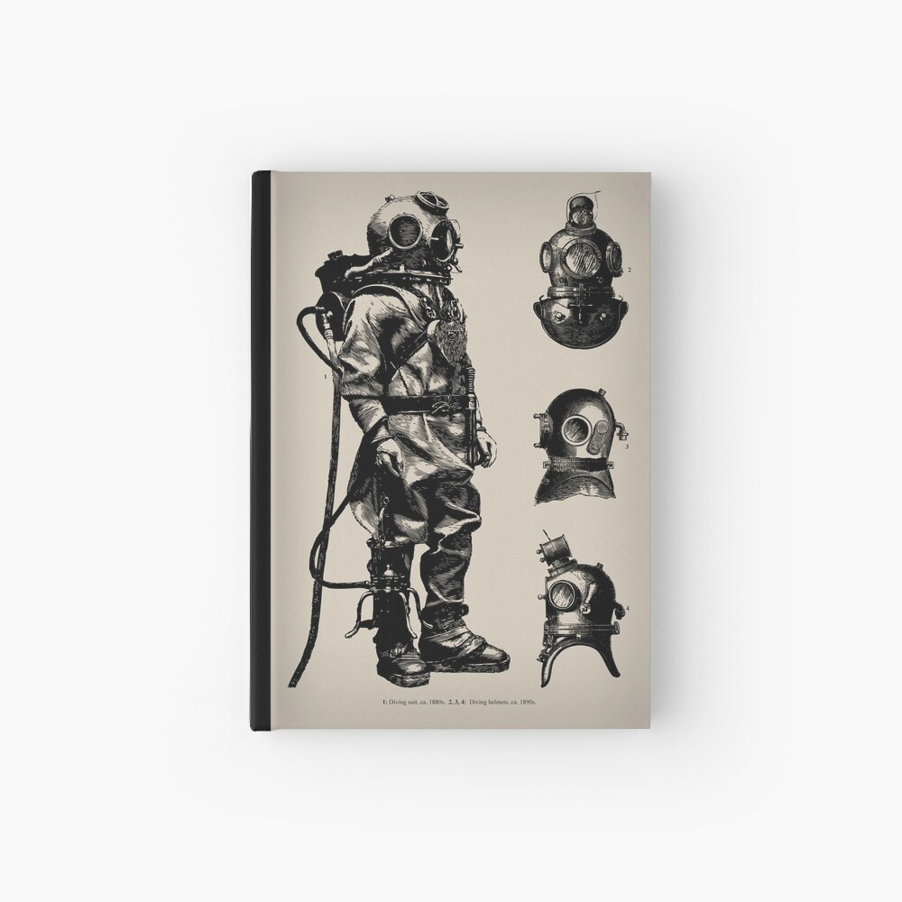 Vintage Deep Sea Diver | Nautical |  Hardcover Journal