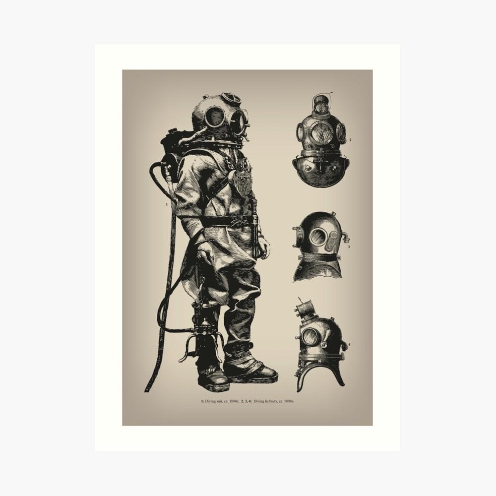 Vintage Deep Sea Diver   Nautical    Art Print