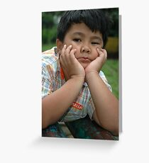 little boy get bored Greeting Card