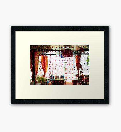 Lovely restaurant by the beach Framed Print