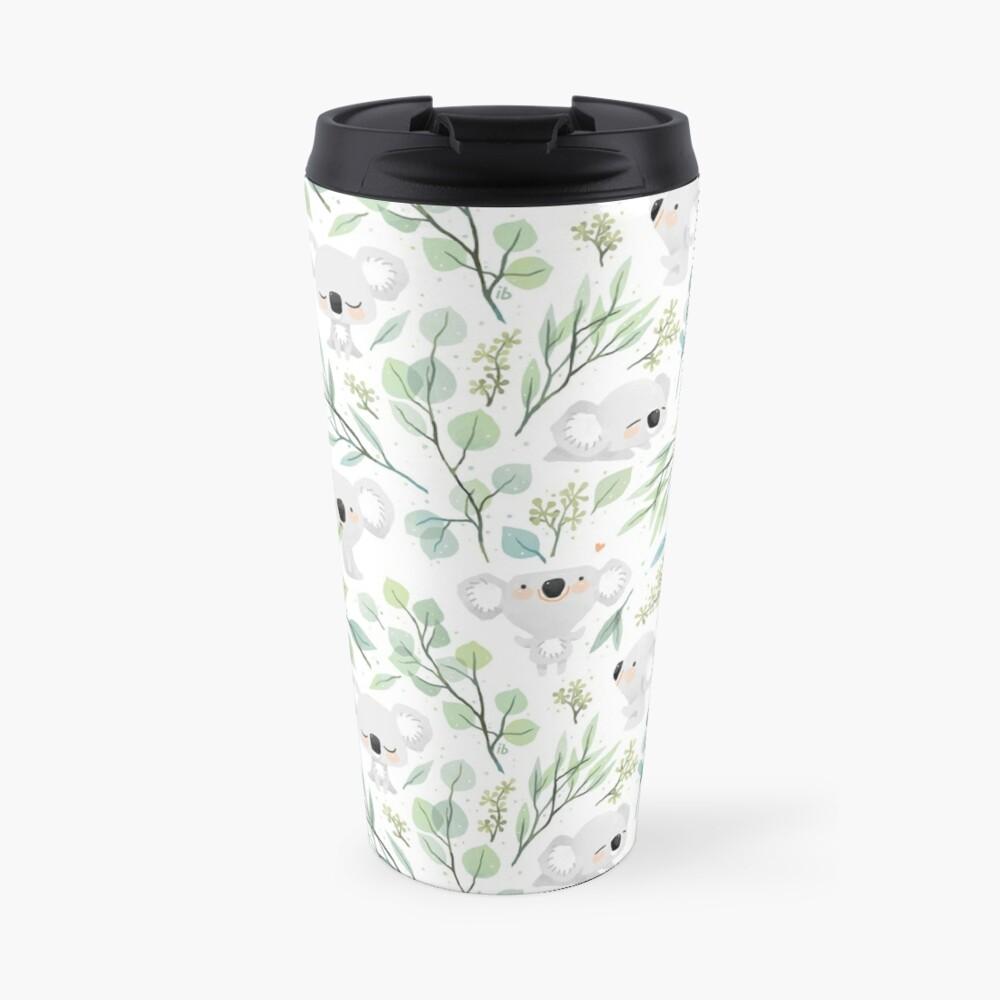 Koala and Eucalyptus Pattern Travel Mug