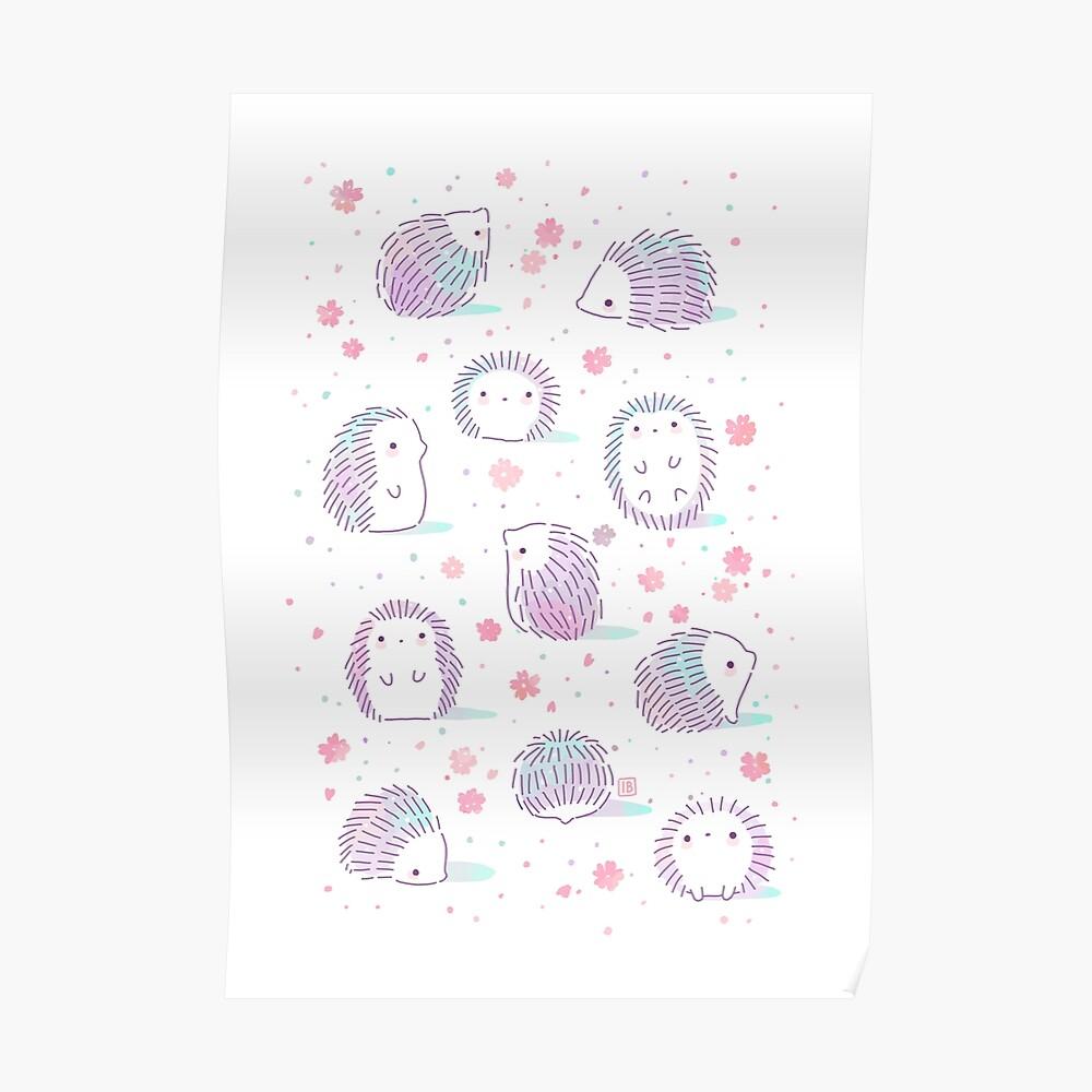 Spring Hedgehog Pattern Poster