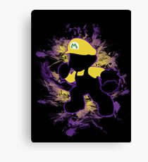 Super Smash Bros. Yellow/Wario Mario Silhouette Canvas Print