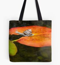 Snail on Lilypad Tote Bag