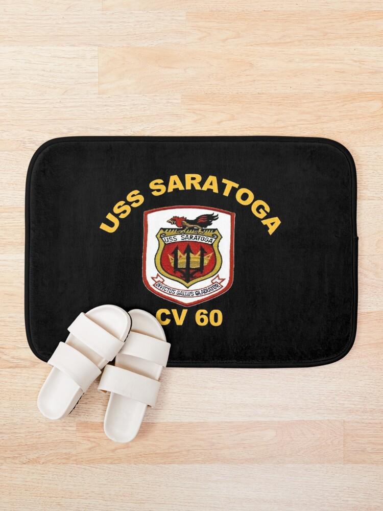 Alternate view of USS Saratoga (CV/CVA/CVB-60) Crest for Dark Colors Bath Mat