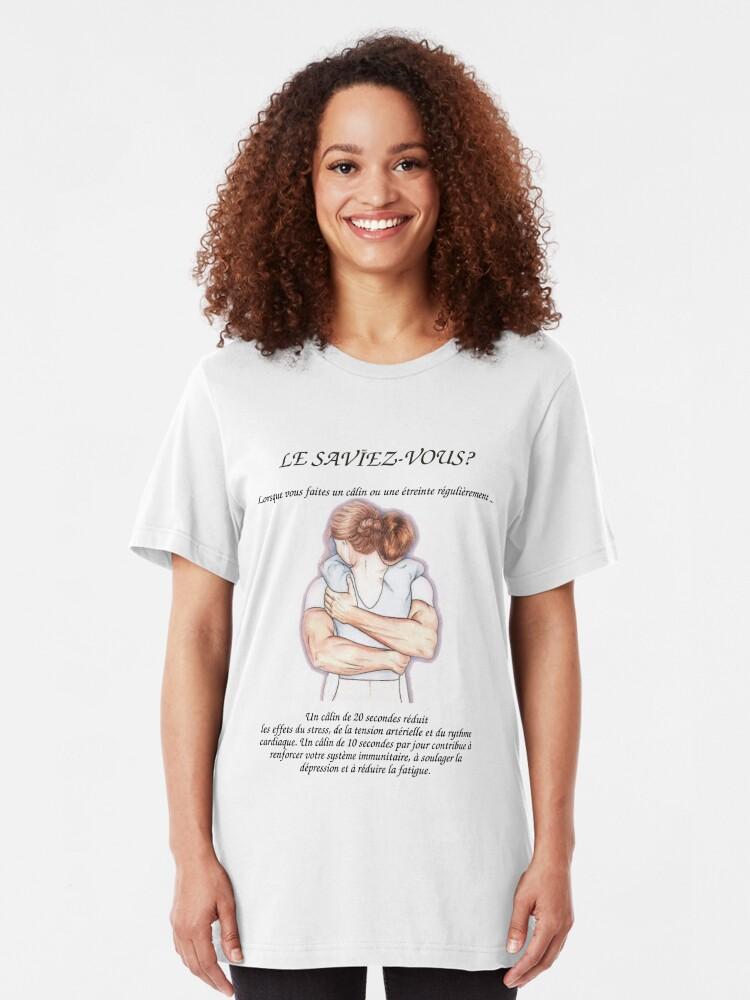 T-shirt ajusté ''Les Bénéfices du Hug sur la santé': autre vue