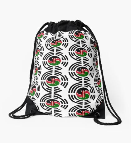 Kenyan Korean Multinational Patriot Flag Series Drawstring Bag