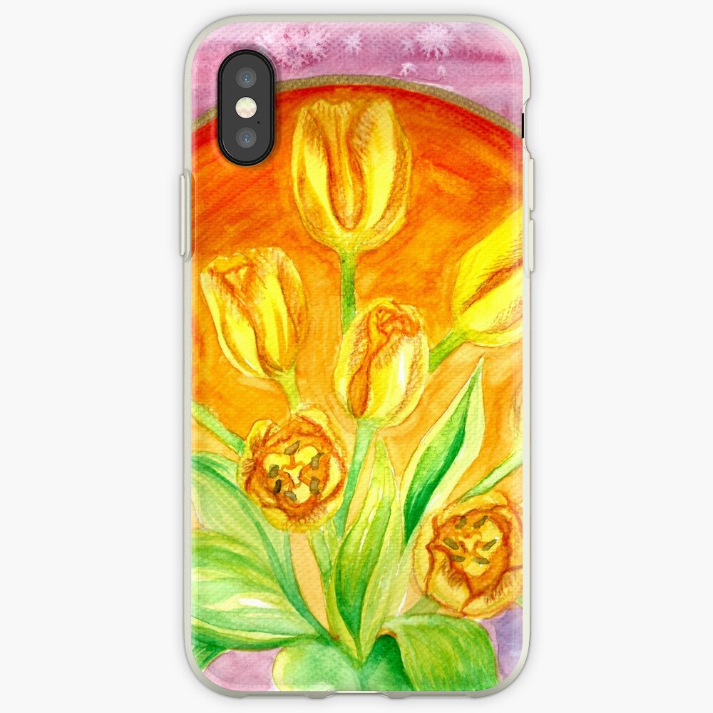 Tulip Flower Bouquet - Watercolor Painting iPhone Case & Cover